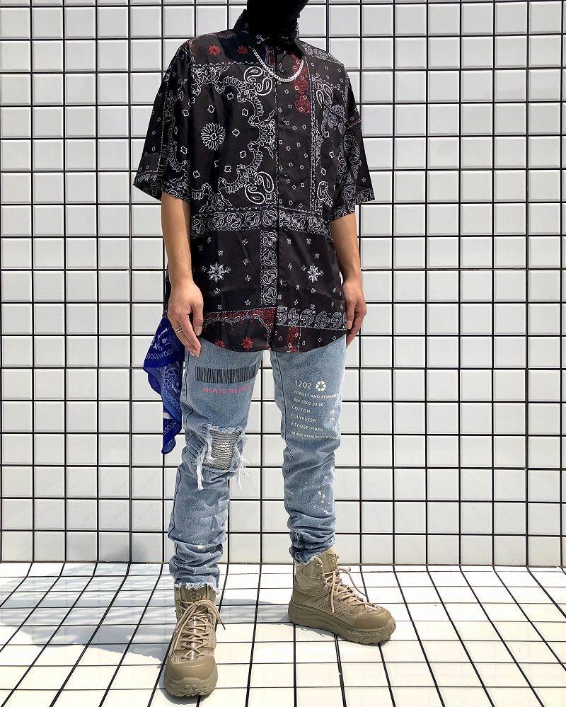 ドロップショルダーパッチワークバンダナ柄ペイズリー半袖シャツの画像2